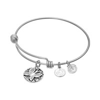 love this life Bead & Crystal Stainless Steel & Silver-Plated ''Believe'' Butterfly Charm Bangle Bracelet (Grey)