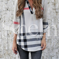 Grey Plaid Adjustable Sleeve Blouse -SheIn(Sheinside)