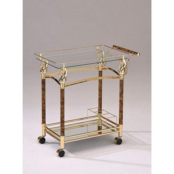 Alluring Serving Cart, Golden Plated & Clear Glass-ACME