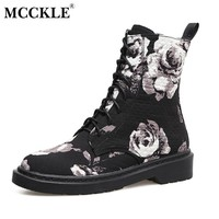 MCCKLE 2017 Women's Flower Ankle Martin Boots Ladies Lace Up Platform Low Heel Canvas Vintage Classic Black Embroidery Shoes