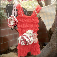 """Red Lace Petti Romper, Sash and Headband Set """" Ruby Rose"""" Baby Girl Romper Childrens Clothing"""