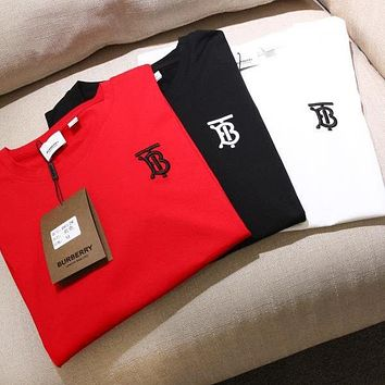 BURBERRY Fashion Women Men Casual Simple Embroidery Short Sleeve T-Shirt Top