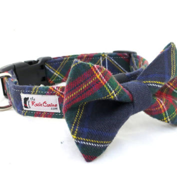 Red, Green, Navy Blue and Yellow Plaid Dog Collar (Bow Tie Sold Separately)
