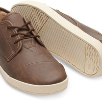 BROWN SYNTHETIC LEATHER FAUX SHEARLING MEN'S PASEO SNEAKERS