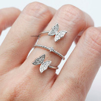 Adjustable Double Butterfly Ring / Butterfly ring / Bubble band ring / Triple Coild ring / Boho ring  - ( SILVER )