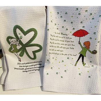 Petals of a Shamrock and Irish Blessing - Set of philoSophie's Waffle Towels