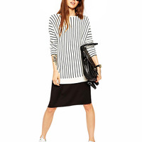 Black And White Striped Long Sleeves Straight Knitted Top