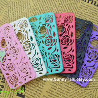 SALE - Floral iphone 5 Case, mint bird on the hollow floral case Iphone case cover,iphone 5 cover, 6 colors for you choose