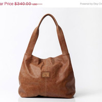 Tan leather bag, Soft leather tote bag, Oversize leather bag, Beautiful printed lining, New design ready to ship in two weeks / Tami bag