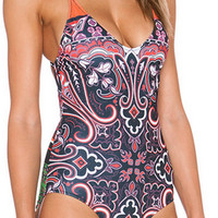 Paisly Print One Piece Swimsuit