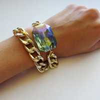 Reversible Faceted Crystal Glass Stone Bracelet on Chunky Gold Chain - Green double wrap statement Jewelry Layering stack bracelet