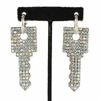"3"" crystal square key dangle pierced earrings"