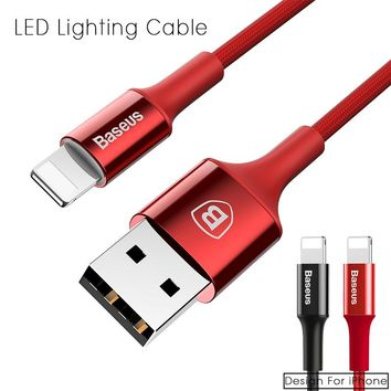 Baseus LED Lighting USB Cable For iPhone 5 6 7 Quick Charger Cable For iPhone iPad USB Charger Cable Phone Fast Charging Cable