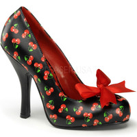 Pinup Couture Cutiepie Cherry Print Pumps with Bow
