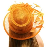 Classy Kentucky Derby Flowers Curled Leaf Feathers Bucket Church Hat Cap Orange