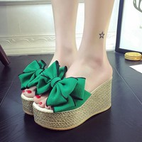 PU Slope Heel Peep-toe Slipper Sandals