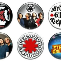 """Set of 6 New Red Hot Chili Peppers 1.25"""" Pinback Button Badge Pin"""
