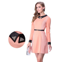 Light Pink Houndstooth Beaded Collar Long Sleeve Zipper Back Mini Dress
