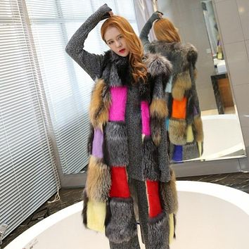Grey Mink Hair Coat  European And American Hit Color Fur Coat Autumn And Winter Women's Clothing Fur Vest Whole Skin Fox HairVest