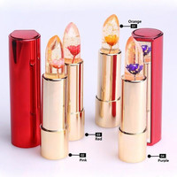 Hot Sale Beauty Moisturizing Lipsticks Flowers Discoloration Jelly Lip Stick Professional Make-up with Mirror Lip Care