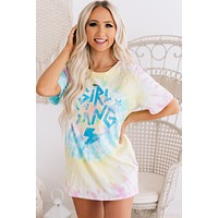 """Girl Gang"" Distressed Tie Dye Graphic Tee (Blue/Yellow/Pink)"