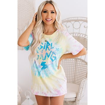 """""""Girl Gang"""" Distressed Tie Dye Graphic Tee (Blue/Yellow/Pink)"""