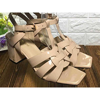 ysl women casual shoes boots fashionable casual leather women heels sandal shoes 151