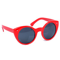 Red Lady Luck Round Cateye Sunglasses