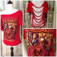 Upcycled Avengers Movie Sliced Open Tee