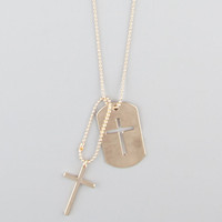 Blue Crown Cross Dogtag Necklace Gold One Size For Men 21632062101