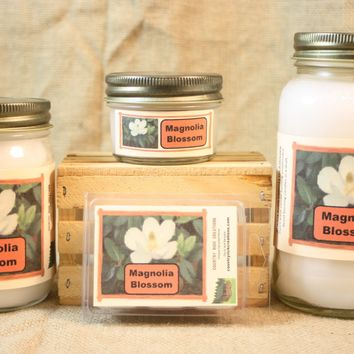 Magnolia Blossom Candles and Wax Melts, Highly Scented Floral Candle and Wax Tarts, Springtime Flower Scent, Gift for Mom
