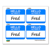 Fred Hello My Name Is - Sheet of 4 Stickers