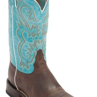 Tony Lama Women's Worn Brown with Turquoise Top Square Toe Western Boot