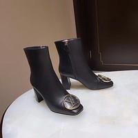 lv louis vuitton trending womens men leather side zip lace up ankle boots shoes high boots 125