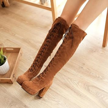 Lace Up Platform Tall Boots High Heel for Women 2036