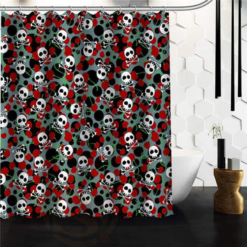 Popular Flowers Sugar Skull Shower Curtain Custom Bath Curtains Bathroom decor on sale