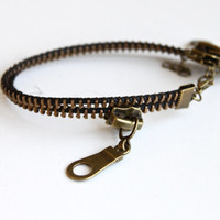 Cute Double Zipper Anklet for Her. Retro Zipper Chain in Vintage Punk Double Layer Anklet.