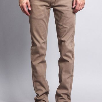 Men's Skinny Fit Colored Jeans (Taupe)