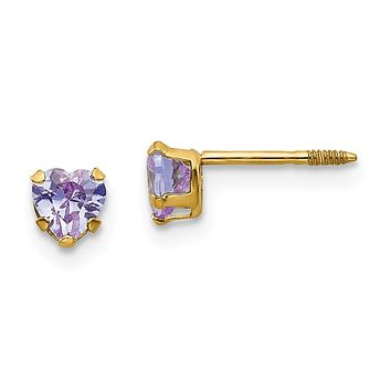14k Yellow Gold Madi K. Violet Colored CZ Heart Earrings - Children's Jewelry