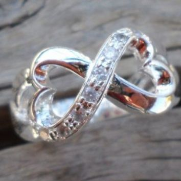 Infinity Hearts Silver Plated Zirconium Ring Size 7