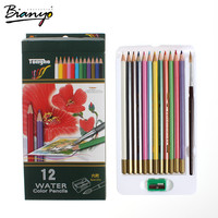 Bianyo 12 Colors Drawing Pencils Watercolor Crayons Painting Pencils for Artist Sketch Free Shipping