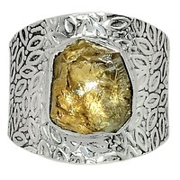 Citrine Rough Sterling Silver Vine Pattern Band  Ring