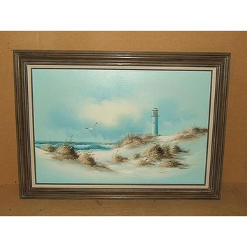 Original Painting Framed 36in x 24in Carson Seascape Lighthouse Oil on Canvas -- Used