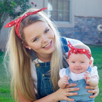 Rockabilly Mommy and Me Matching Red Bandana Head Scarfs Pinup Women Baby Headband Hair Accessory