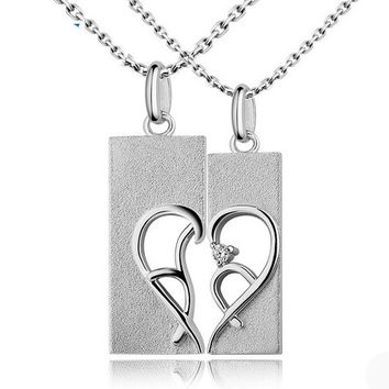 Half Heart Necklace for Couples with Names Set of 2 Personalized Couples Gifts | His Her Necklaces and Bracelets | Engraved Wedding Rings | Couples Clothing