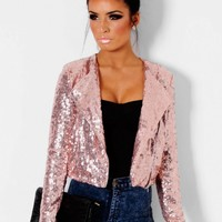 Shimmer Pink All Over Sequin Crop Jacket | Pink Boutique