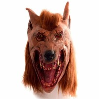 Brown Creepy Wolf Head Latex Mask For Adult