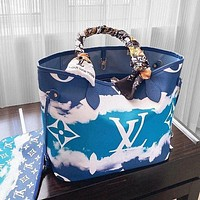 Lv 2020 summer gradient tie-dye monogram series onthego mommy bag with mesh scarf colorful shopping bag Blue