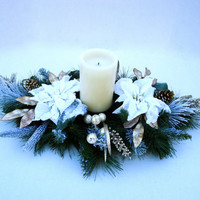 Christmas Centerpiece  -  Pine Table Centerpiece with Flameless Pillar Candle, Christmas, Winter Arrangement, Home Decor, Table Decor,