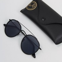 Ray-Ban Round Sunglasses in Black with Double Brow 0RB3647N at asos.com